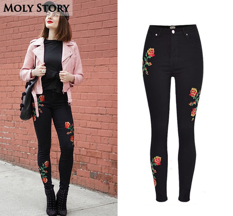 Stretch Rose Black Jeans Skinny Denim Pants PU22