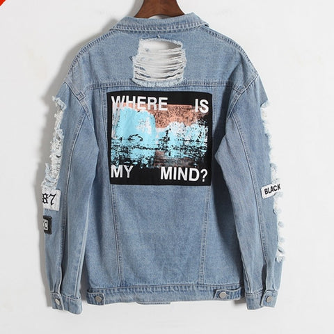 Jacket Women Denim Broken BF Loose Jaqueta Feminina