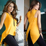 Split Yellow Round  Tank Tops