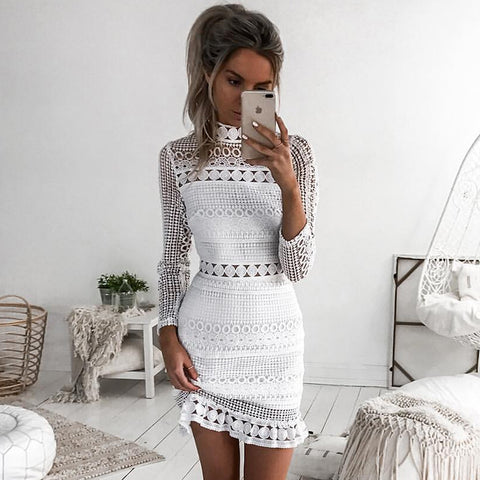 dress New Vintage hollow out lace Elegant Long sleeve