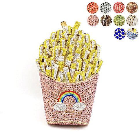 diamonds French fry fries rainbow clutches crystal purses Bags SE