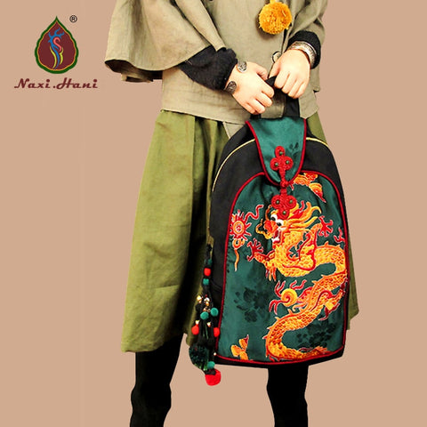 Ethnic dragon pattern embroidery bags Backpack SE