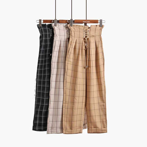 Lace up Plaid High Waist Loose Harem Pants SE