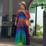 Off Shoulder Rainbow Color Chiffon Maxi Dress SE