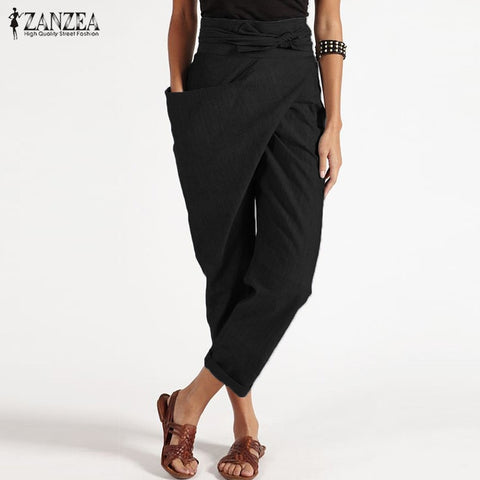 Big Pockets Side Zipper Cropped Harem Pants RI