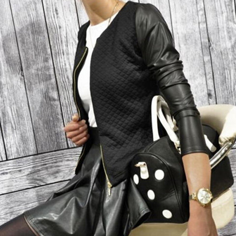 Jacket Leather Casual Zip Longall Jacket For Women Lady