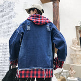 Patchwork Plaid Hooded Bomber Jeans Denim Jacket Men SE
