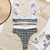 High Waist Ruffle Plaid Mesh Bikini Set RI