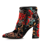Winter Floral Short Ankle Boots PU22
