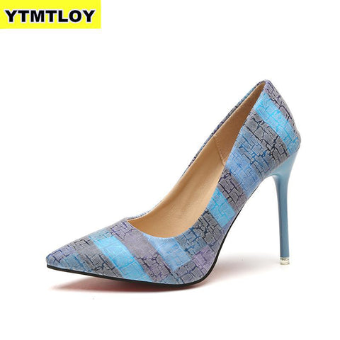 Color Pump High Heels Patent Leather Shoes RI