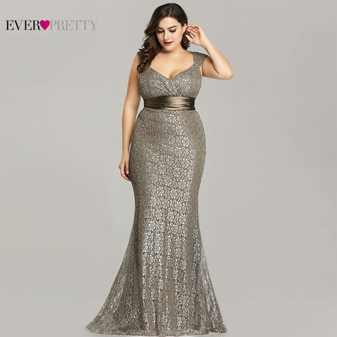 Plus Size Mermaid Lace Sleeveless Gowns Dress SE