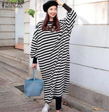 Plus Size Striped Vintage Sleeve Split Maxi Dress RI