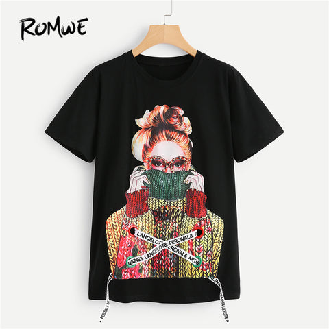 643829ecbf6 Black Figure Print Embellished Round Neck Short Sleeve Pearls Lace Up  Beaded T Shirt