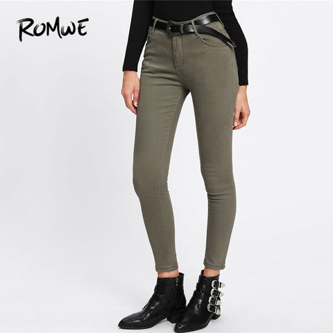466a04d95 Ankle Army Green Denim Jeans Trousers PU22
