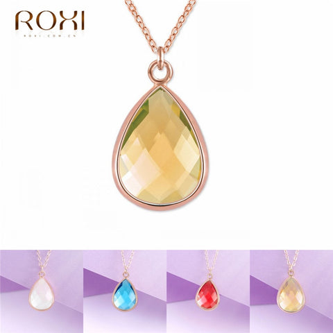 Crystal Charm Drop Shape Stone Necklace SE