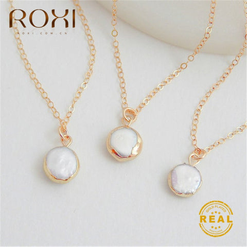 Round Pearl Pendant Necklace RI