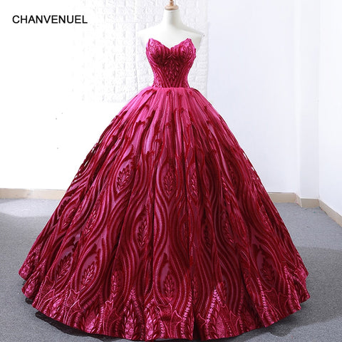 rose red ball gown strapless Prom Dress SE
