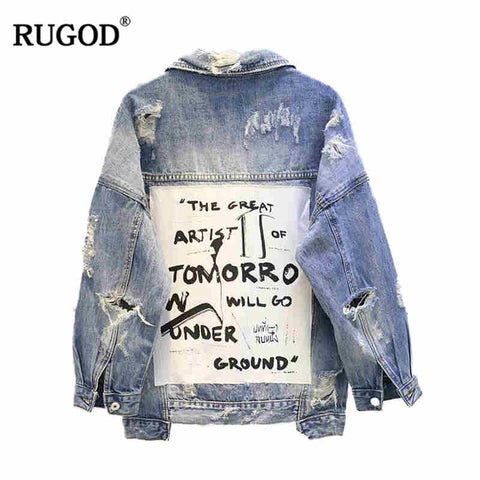 Frayed Ripped Hole Patchwork Denim Jacket RI