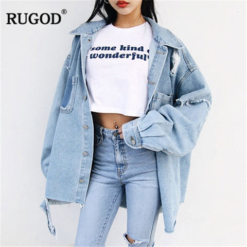 ripped long sleeve loose jean jacket RI