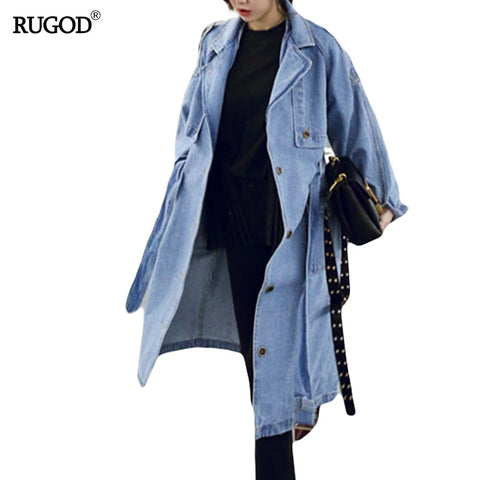 Loose X-Long Denim Trench Coat RI