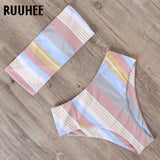 Tube Top Push Up Print High Leg Bandeau Bikini RI