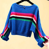 Rainbow Striped Slash Neck Pullovers Knitted Batwing Sleeve Cropped Sweater