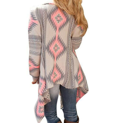 Jacket Cardigan Open Front Loose Aztec Tops