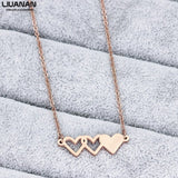 Rose Gold Triple Hearts Necklace SE