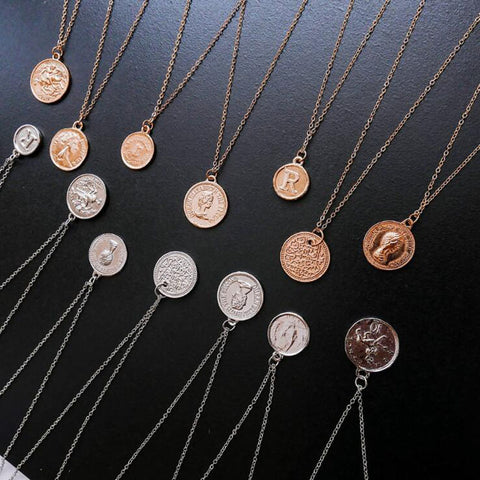 Coin Double Side Pattern Pendant Necklaces RI
