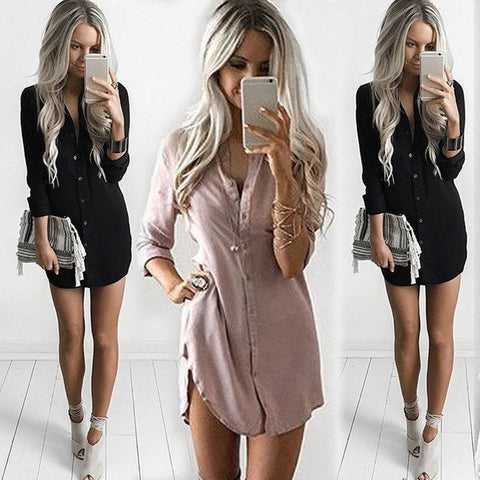 Dresses  Office Long Sleeve Shirt Casual Autumn