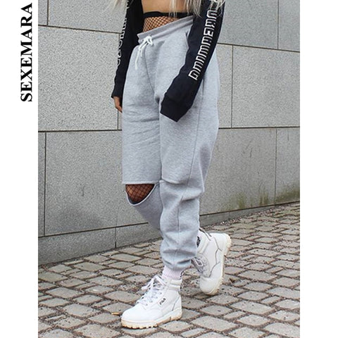 Ripped Sweatpants Trousers Drawstring Distressed Joggers PU22