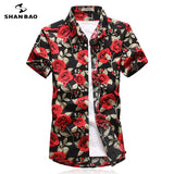 Hawaiian Short Sleeve Shirt Rose Print PU22