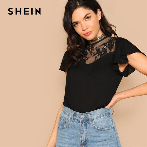 Black Floral Lace Insert Flutter Sleeve Stand Collar Tops RI