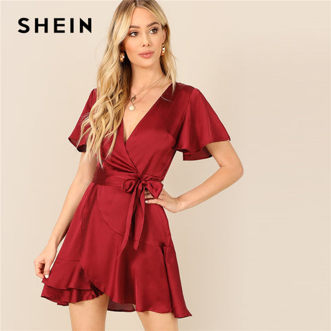 ca4932ee1c1 Bell Sleeve V-neck Wrap Ruffle Dress RI
