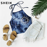 Sleeveless Navy Tie Dye Print Halter Neck Top Camis Tops