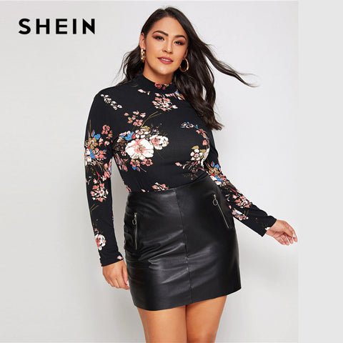 Plus Size Black Mock Neck Floral Long Sleeve Tops RI