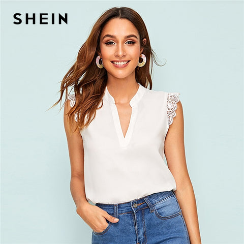 Lace Trim V neck Stand Collar Sleeveless Tops RI