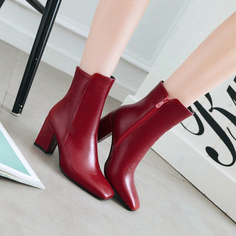 Side Zipper Square Heel Ankle Boots