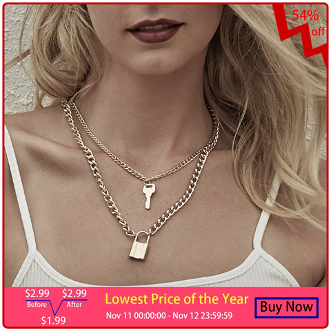 Key Padlock Pendant Necklace Layered RI