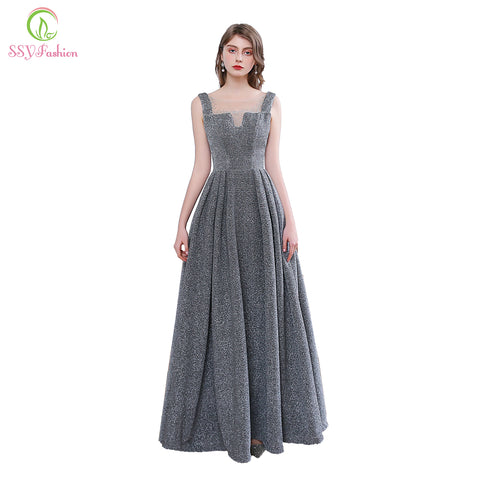 Simple Grey Sleeveless Sequin Banquet Sparkling Long Dress SE