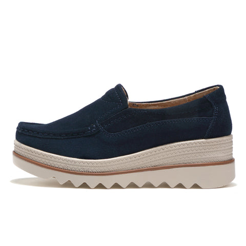 Shoes platform sneakers leather suede casual shoes slip on flats heels