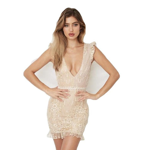 V Neck Sequin Ruffle Crochet Backless Mini Dress RI