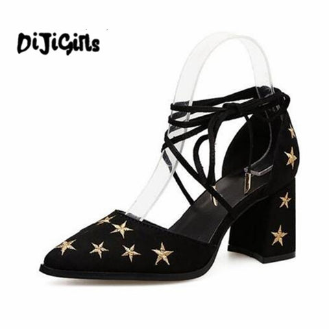 Sandals Gladiator Ankle Star Embroidered Shoes