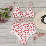 Push Up Chicken Print High Waist Bathing Suit Bikini Set SE