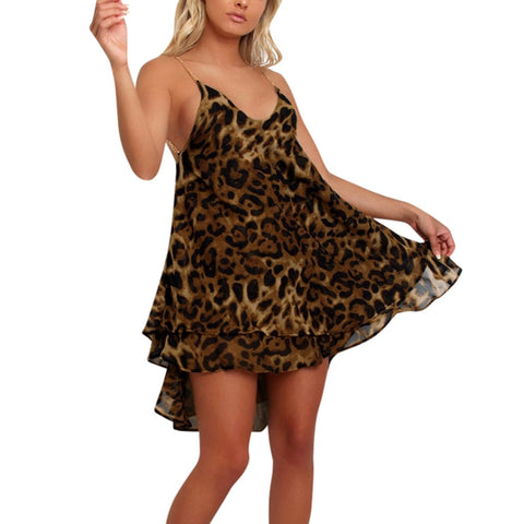 Sleeveless V Neck Leopard Print Backless Loose Dress SE