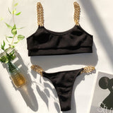 Micro Black Push Up Padded Bra Chain Metal Strap Bikini SE