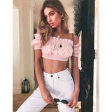 Off Shoulder Ruffles Backless Crop Top
