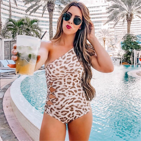 One Shoulder High Cut Leopard One Piece Swimsuits RI