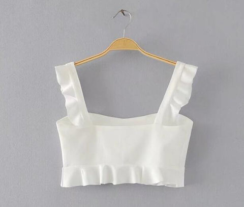 Ruffles Short Tank Top Strap Backless Camisole Cropped Cami Top