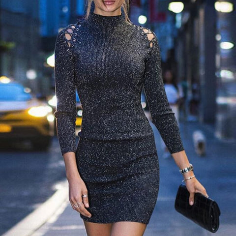 Turtleneck Glitter Sequin Bodycon Dress RI b7dc46bc5